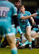Warriors Gareth Simpsonpasses the ball during the Gallagher Premiership match Sale Sharks -V- Worcester Warriors at The AJ Bell Stadium, Greater Manchester,England United Kingdom, Friday, January 08, 2021. (Steve Flynn/Image of Sport)