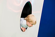 Children play in the cube of GartenKinder by Carsten Holler in the Gagosian Gallery - Frieze London and Frieze Masters 2014, Regents Park, London, 14 Oct 2014.