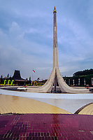 Indonesia, Java, Jakarta. A small version of MONAS (The National Monument) in Taman Mini.