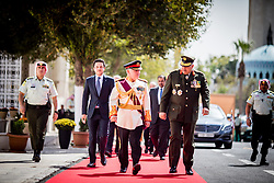 Jordan's King Abdullah II and his son Crown Prince Hussein (left) arrive to deliver a speech for the inauguration or the third ordinary session of the 18th Parliament, in Amman, Jordan, on October 14, 2018. Photo by Balkis Press/ABACAPRESS.COM