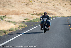 """""""HenderZen"""" - Frank Westfall riding his 1928 Henderson Deluxe during Stage 15 (244 miles) of the Motorcycle Cannonball Cross-Country Endurance Run, which on this day ran from Lewiston, Idaho to Yakima, WA, USA. Saturday, September 20, 2014.  Photography ©2014 Michael Lichter."""