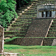 Base of stairs at Bonampak, Chiapas.