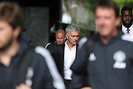 Jose Mourinho, manager of Manchester Utd arrives off the team coach ahead of the game. Premier league match, Swansea city v Manchester Utd at the Liberty Stadium in Swansea, South Wales on Saturday 19th August 2017.<br /> pic by  Andrew Orchard, Andrew Orchard sports photography.
