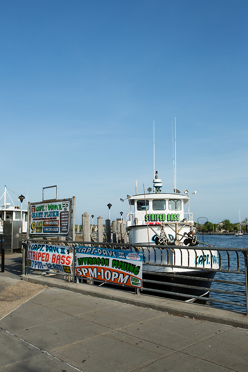 Charter fishing boats on the piers in Sheepshead Bay.
