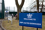 The welcome sign at the entrance to HMP Downview. HM Prison Downview is a women's closed category prison. Downview is located on the outskirts of Banstead in Surrey, England. The prison is operated by Her Majesty's Prison Service. Downview Prison holds adult Sentenced Female prisoners and convicted and remanded female juveniles. The prison holds approximately 50% foreign nationals. Downview is divided into 4 Wings, A,B,C,D (D wing is a resettlement Wing), and the Juvenile Unit. All wings have single cell accommodation with in-cell electricity. The prison offers vocational training courses and NVQs for inmates. The resettlement wing provides opportunities for inmates to work and receive education outside the prison.