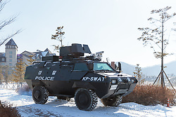 08-02-2018 KOR: Olympic Games day -1, Pyeongchang<br /> Armored vehicle of a SWAT unit during a preliminary report at the Main Press Centre in Pyeongchang, South Korea on 2018/02/03<br /> <br /> *** USE NETHERLANDS ONLY ***