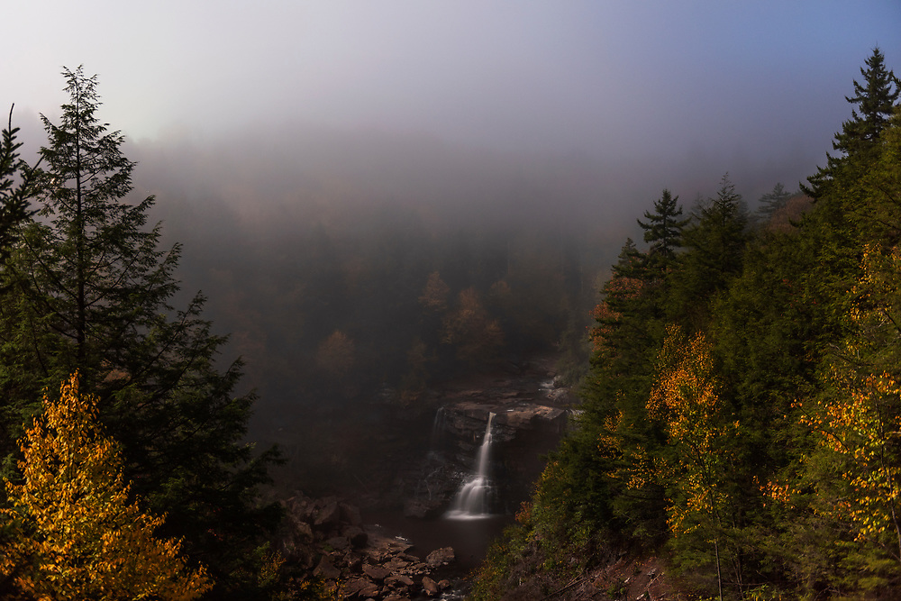 Blackwater Falls is seen in the early morning from an overlook in the park outside of Davis, W. Va.