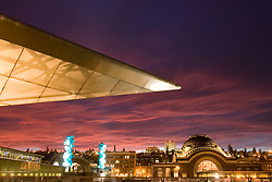 Museum of Glass, Chihuly Bridge with Venetian Wall and Crystal Towers, and Union Station at sunset, Tacoma, WA  USA