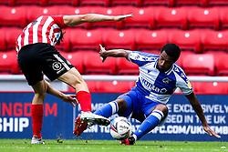 Josh Grant of Bristol Rovers tackles Luke O'Nien of Sunderland  - Mandatory by-line: Robbie Stephenson/JMP - 12/09/2020 - FOOTBALL - Stadium of Light - Sunderland, England - Sunderland v Bristol Rovers - Sky Bet League One