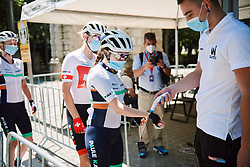 Sophie Wright (GBR) has her temperature checked at the 2020 Clasica Feminas De Navarra, a 122.9 km road race starting and finishing in Pamplona, Spain on July 24, 2020. Photo by Sean Robinson/velofocus.com