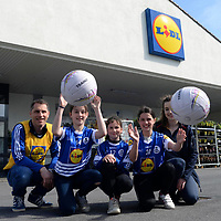 Coach Connor Slattery, Maeve Slattery, Ciara Slattery, Sarah Casey and Lidl Store Manager Susan Hickson pictured at Lidl in Dingle, County Kerry for the prize handover for Lidl's LGFA Club Competition. The club was recently announced as winners of the competition which called on customers to nominate their local club to win a set of jerseys and equipment for their club. Annascaul girls football team was one of 154 lucky clubs across the country winning a total of €250,000 worth of jerseys and equipment raised from the sale of promotional packs of Lidl's Carrick Glen 6 pack of water. 10c from every purchase was donated toward the jersey and equipment fund which ran across all stores earlier this year.<br />Photo: Sally MacMonagle<br /><br />pr photo photo from LIDL<br />Further info: aisling.obrien@lidl.ie