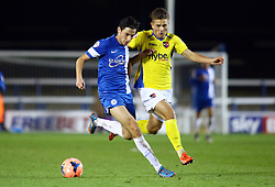 Peterborough United's Joe Newell in action with Exter City's Tom Nicholas - Photo mandatory by-line: Joe Dent/JMP - Tel: Mobile: 07966 386802 09/11/2013 - SPORT - FOOTBALL - London Road Stadium - Peterborough - Peterborough United v Exeter City - FA Cup - First Round