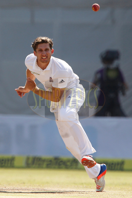 Zafar Ansari of England bowls a delivery during day 5 of the first test match between India and England held at the Saurashtra Cricket Association Stadium , Rajkot on the 13th November 2016.<br /> <br /> Photo by: Deepak Malik/ BCCI/ SPORTZPICS