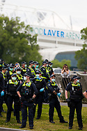 Large numbers of police are seen flanked by Rod Laver Arena during the Melbourne Freedom Rally at The Shrine. Premier Daniel Andrews promises 'significant' easing of Stage 4 restrictions this weekend. This comes as only one new case of Coronavirus was unearthed over the past 24 hour and no deaths. (Photo by Dave Hewison/Speed Media)