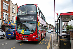© Licensed to London News Pictures. 08/06/2020. London, UK. A 'BUS FULL' sign displayed on a bus. London double decker buses are restricted to a maximum 20 passengers as it starts charging fares again. Photo credit: Dinendra Haria/LNP