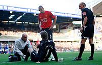 Photo: Richard Lane/Sportsbeat Images.<br />Birmingham City v Manchester United. The FA Barclays Premiership. 29/09/2007. <br />United's goalkeeper, Edwin Van Der Sar receives treatment to a foot injury.