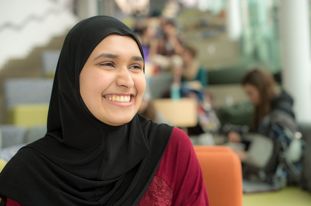 """Srosh Hassan stood in the House of Commons on March 8, 2017  to explain what it's like to be a 21-year-old Muslim woman of colour """"in a time of overwhelming stigma."""" She was one of 338 young women who, for the first time in history, filled every seat in the House of Commons in honour of International Women's Day. It was part of an initiative called Daughters of the Vote,"""