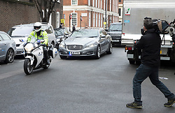 © Licensed to London News Pictures.23/03/2017.London, UK. Prime Minister Theresa May's convoy takes the back streets to Parliament, the day after a lone terrorist killed 4 people and injured several more, in an attack using a car and a knife. The attacker managed to gain entry to the grounds of the Houses of Parliament, killing one police officer.Photo credit: Peter Macdiarmid/LNP