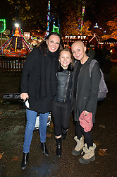Left to right, ALEX SILVER, SCARLET SILVER and GAIL PORTER at the Hyde Park Winter Wonderland - VIP Preview Night, Hyde Park, London on 17th November 2016.