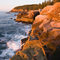 Dawn light on the pink granite ledges of the rocky coast in Maine's Acadia National Park.  Otter Cliffs are in the distance. Mount Desert Island.
