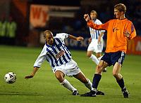 Fotball: UEFA Cup. Kilmarnock V Viking, Rugby Park Kilmarnock. UEFA Cup first round first leg.<br /><br />Antonio Calderon troubles Brede Hangeland