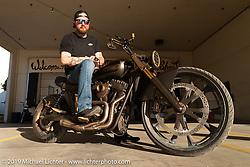 Chris Moos with his 2018 Harley-Davidson custom Dyna at the Handbuilt Show. Austin, TX. USA. Sunday April 22, 2018. Photography ©2018 Michael Lichter.