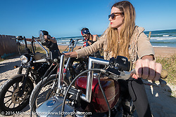 Tracy Herndon and the Iron Lillies at the High Tides restaurant in Flagler Beach while on the Hot Leathers ride during the Daytona Bike Week 75th Anniversary event. FL, USA. Tuesday March 8, 2016.  Photography ©2016 Michael Lichter.