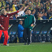 Benfica's coach Jorge Jesus (L) during their UEFA Europa League Semi Final first match Fenerbahce between Benfica at Sukru Saracaoglu stadium in Istanbul Turkey on Thursday 25 April 2013. Photo by Aykut AKICI/TURKPIX