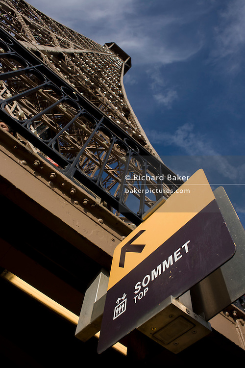 Summit sign on the second level of the Eiffel Tower, Paris/