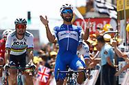 Fernando Gaviria (COL - QuickStep - Floors) - Peter Sagan (SVK - Bora - Hansgrohe) during the Tour de France 2018, Stage 1, Noirmoutier -en-l'île - Fontenay-le-Comte (201km) on July 7th, 2018 - Photo Luca Bettini / BettiniPhoto / ProSportsImages / DPPI