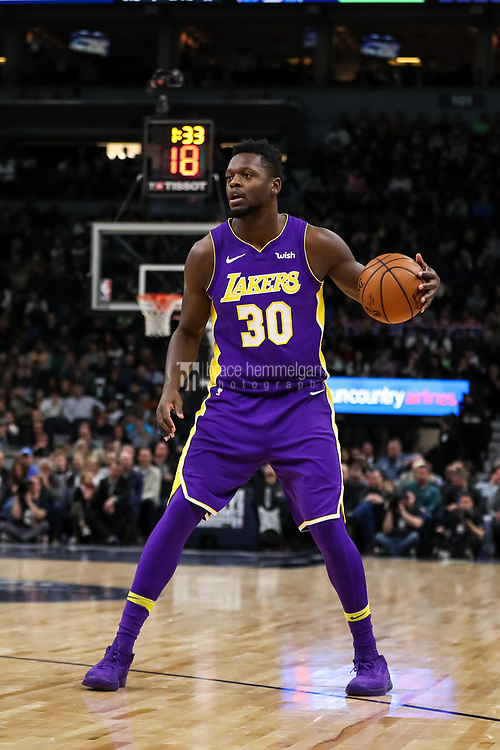 Feb 15, 2018; Minneapolis, MN, USA; Los Angeles Lakers forward Julius Randle (30) during a game between the Minnesota Timberwolves and Los Angeles Lakers at Target Center. Mandatory Credit: Brace Hemmelgarn-USA TODAY Sports
