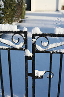 Snow covered gates in Dublin Ireland during the cold snap in November 2010