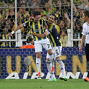 Fenerbahce's celebrates his goal Gokhan Gonul, Mehmet Topal (L-R) during their Turkish Superleague soccer derby match Fenerbahce between Besiktas at Sukru Saracaoglu stadium in Istanbul Turkey on Sunday 07 October 2012. Photo by TURKPIX