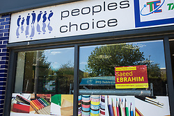 Cardiff, UK. 2nd May, 2017. A Cardiff Council election poster for Welsh Labour candidate Saeed Ebrahim is pictured in the window of a shop in the constituency of Butetown.