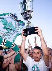 Coach Janez Pate  at award ceremony celebrates with the Cup after final match of 2nd SNL league between NK Olimpija in NK Aluminij, on May 23, 2009, ZAK, Ljubljana, Slovenia. Aluminij won 2:1. NK Olimpija is a Champion of 2nd SNL and thus qualified to 1st Slovenian football league for season 2009/2010. (Photo by Vid Ponikvar / Sportida)