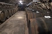 Oak barrel aging and fermentation cellar. Domaine Huet, Vouvray, Touraine, Loire, France