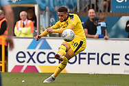 Oxford United midfielder (on loan from West Ham United) Marcus Browne (10) takes a shot at goal during the EFL Sky Bet League 1 match between Wycombe Wanderers and Oxford United at Adams Park, High Wycombe, England on 15 September 2018.