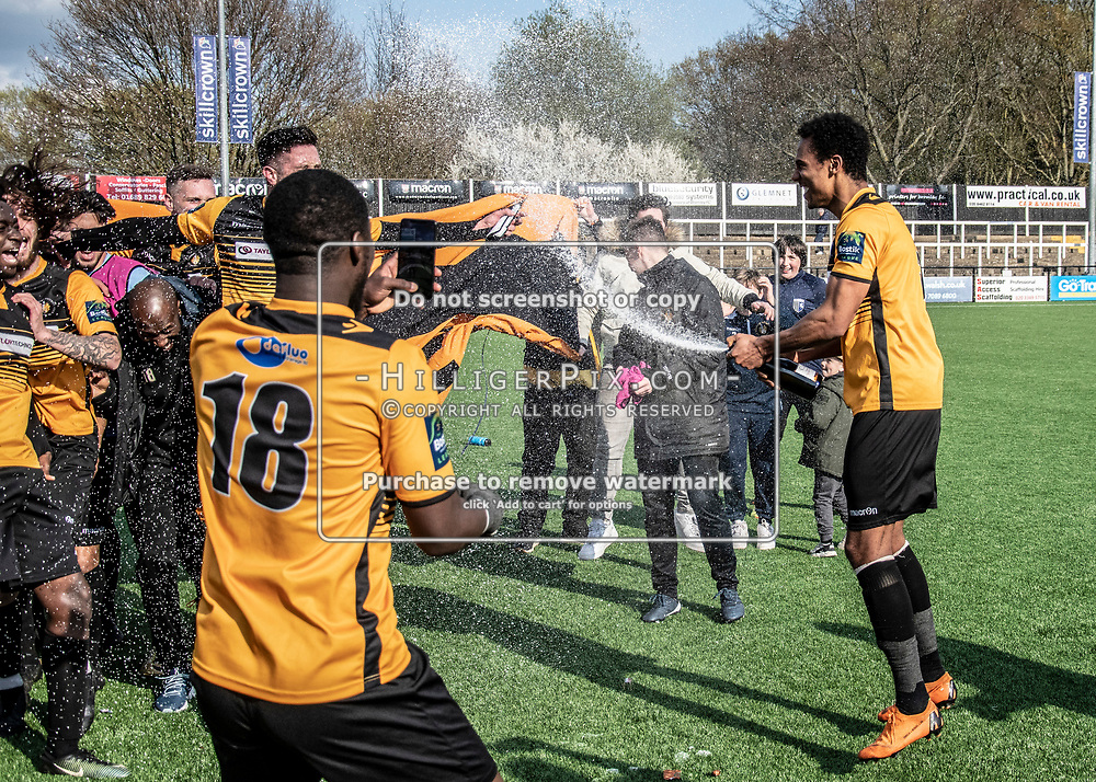 BROMLEY, UK - APRIL 13: Champions of the Bostik League South East  at Hayes Lane on April 13, 2019 in Bromley, UK. (Photo: Jon Hilliger)