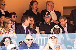 Nicolas Sarkozy and Valeria Bruni-Tedeschi's daughter Celine Garrel attend the match Rafael Nadal vs Grigor Dimitrov (6-4, 6-1) during the Monte Carlo Rolex Masters at the Country Club of Monaco. n the photo Sarkozy is with his lawyer Thierry Herzog. Monaco on april 21th, 2018. Photo by ABACAPRESS.COM