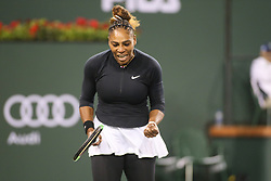 March 8, 2019 - Indian Wells, CA, U.S. - INDIAN WELLS, CA - MARCH 08: Serena Williams (USA) reacts after a point during the BNP Paribas Open on March 8, 2019 at Indian Wells Tennis Garden in Indian Wells, CA. (Photo by George Walker/Icon Sportswire) (Credit Image: © George Walker/Icon SMI via ZUMA Press)