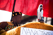 The carving of a parrot adorns the palanquin of a traditional chief during the parade held on the occasion of the annual Oguaa Fetu Afahye Festival in Cape Coast, Ghana on Saturday September 6, 2008.