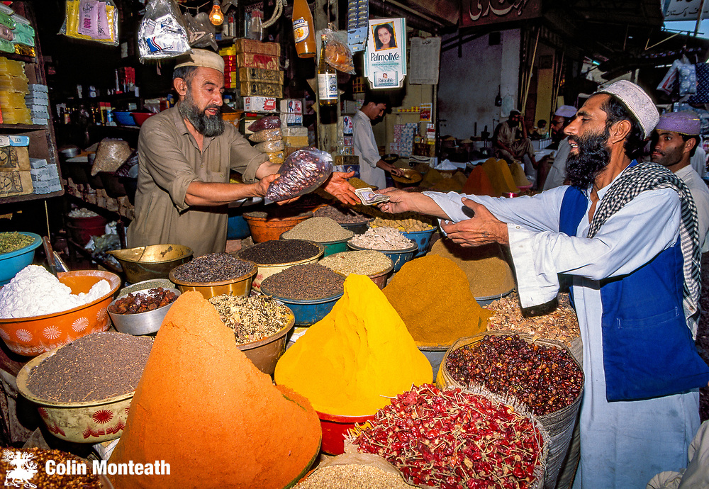 Herb and spice stall in market, Peshawar, North West Frontier, Pakistan