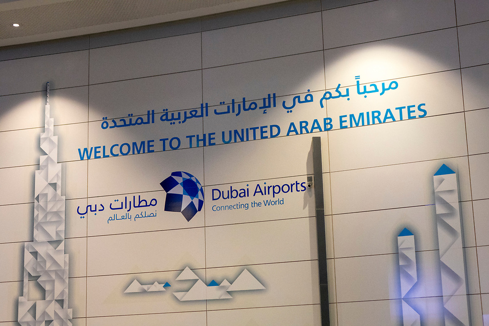 Sign in the Dubai airport welcoming visitors to the country
