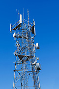 Antennas for 3 sector cellular  communications  mobile telephone system on a triangular lattice tower in New South Wales, Australia. <br /> <br /> Editions:- Open Edition Print / Stock Image