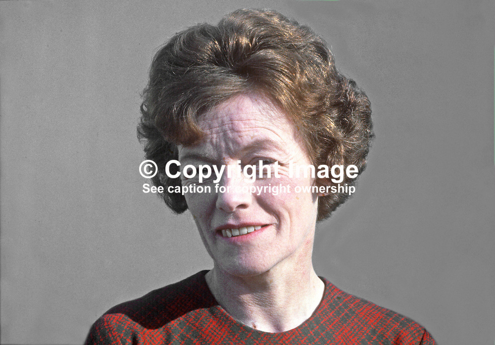Mrs Anna Forrest, Ulster Unionist candidate, by-election, Mid-Ulster, N Ireland, 17th April 1969. The by-election was unique in that the only two candidates were women. Mrs Forrest failed to win the seat in a by-election caused by the death of her late husband, George Forrest. She was defeated by the radical student politician Bernadette Devlin. 19690404145AF.<br /> <br /> Copyright Image from Victor Patterson, Belfast, UK<br /> <br /> t: +44 28 9066 1296 (from Rep of Ireland 048 9066 1296)<br /> m: +44 7802 353836<br /> e: victorpattersonbelfast@gmail.com<br /> <br /> www.images4media.com<br /> <br /> Please see my full Terms and Conditions of Use at https://www.images4media.com/p/terms-conditions - it is IMPORTANT that you familiarise yourself with them.<br /> <br /> Images used online incur an additional cost. This cost should be agreed in writing in advance. Online images must be visibly watermarked i.e. © Victor Patterson or that of the named photographer within the body of the image. The original metadata must not be deleted from images used online.<br /> <br /> This image is only available for the use of the download recipient i.e. television station, newspaper, magazine, book publisher, etc, and must not be passed on to a third party. It is also downloaded on condition that each and every usage is notified within 7 days to victorpattersonbelfast@gmail.com.<br /> <br /> The right of Victor Patterson (or the named photographer) to be identified as the author is asserted in accordance with The Copyright Designs And Patents Act (1988). All moral rights are asserted.