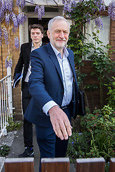 © Licensed to London News Pictures . 20/04/2017 . London , UK . JEREMY CORBYN leaves his home in Finsbury Park , accompanied by JAMES SCHNEIDER , this morning (20th April 2017) . Jeremy Corbyn is due to set out Labour's election campaign manifesto at a speech today . Photo credit: Joel Goodman/LNP