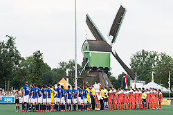 the line up of The Netherlands and France during the Champions Trophy match between the Netherlands and France on the fields of G.H.C. Rapid on June 15th, 2018 in Gorinchem, The Netherlands.