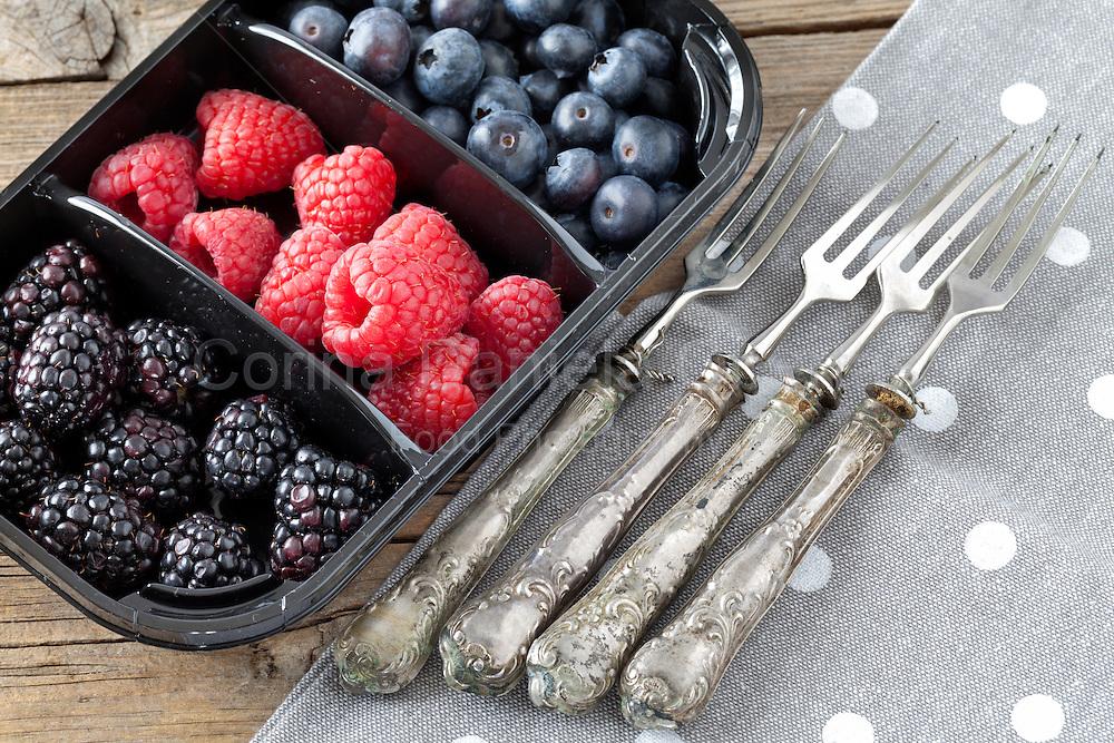 Red fruits in plastic tray: blackberries,raspberries,blueberries.