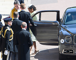 © Licensed to London News Pictures. 19/05/2018. London, UK. DORIA RAGLAND, mother of Meghan Markle,  arrives at The wedding of Prince Harry, The Duke of Sussex to Meghan Markle, The Duchess of Sussex, at St George's Chapel in Windsor. Photo credit: Ben Cawthra/LNP