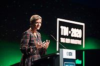 DEU, Deutschland, Germany, Berlin, 05.10.2020: EU-Wettbewerbskommissarin Margrethe Vestager während ihrer Rede auf dem Tag der Industrie (TDI) des Bundesverbands der Deutschen Industrie (BDI) in der Verti Music Hall.